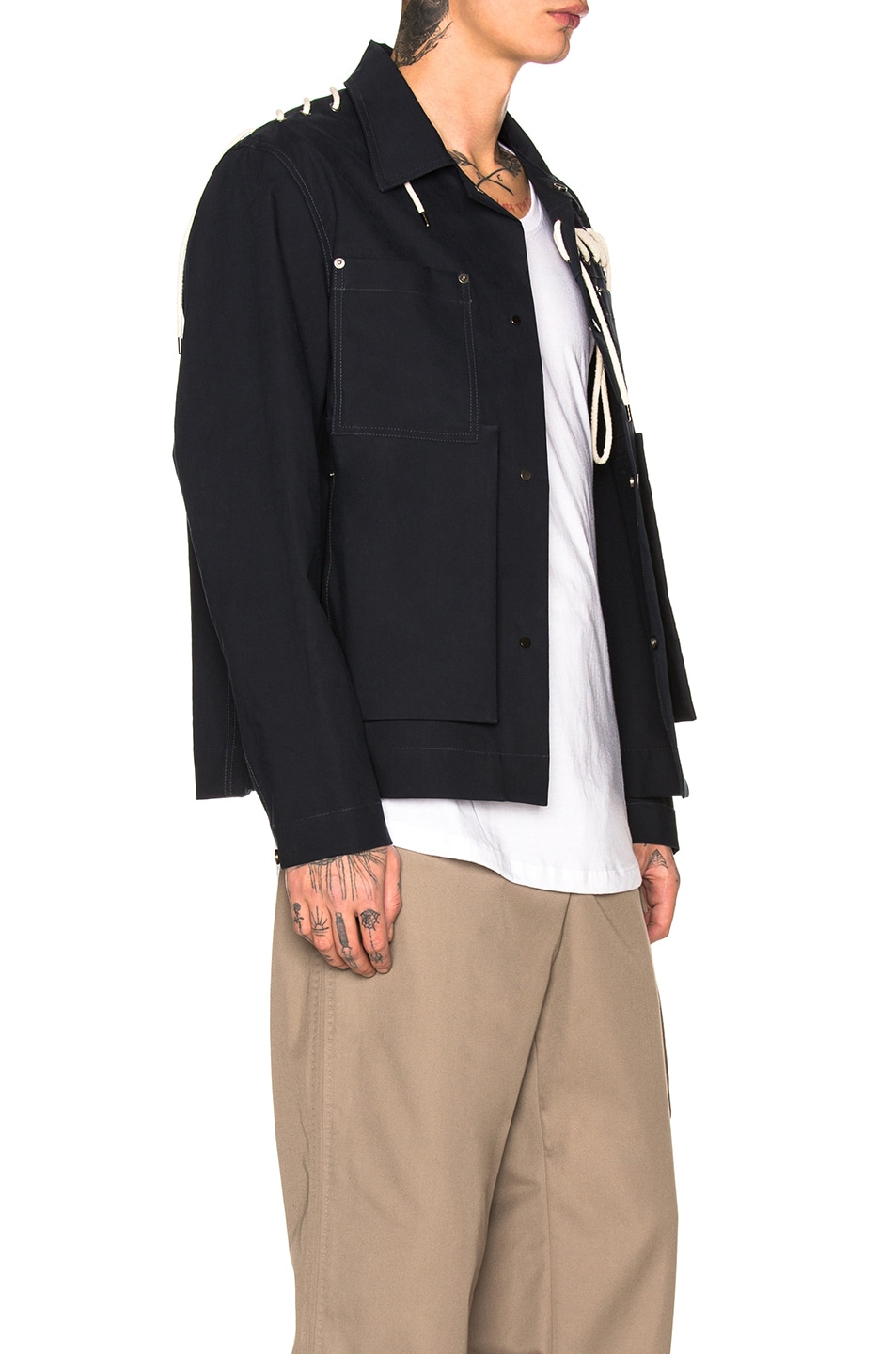 Image 3 of Craig Green Laced Bonded Worker Jacket in Navy