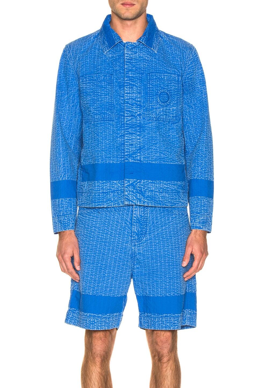 Image 2 of Craig Green Acid Wash Line Stitch Worker Jacket in Blue