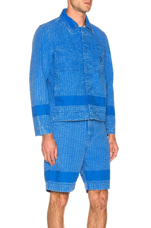 Image 3 of Craig Green Acid Wash Line Stitch Worker Jacket in Blue