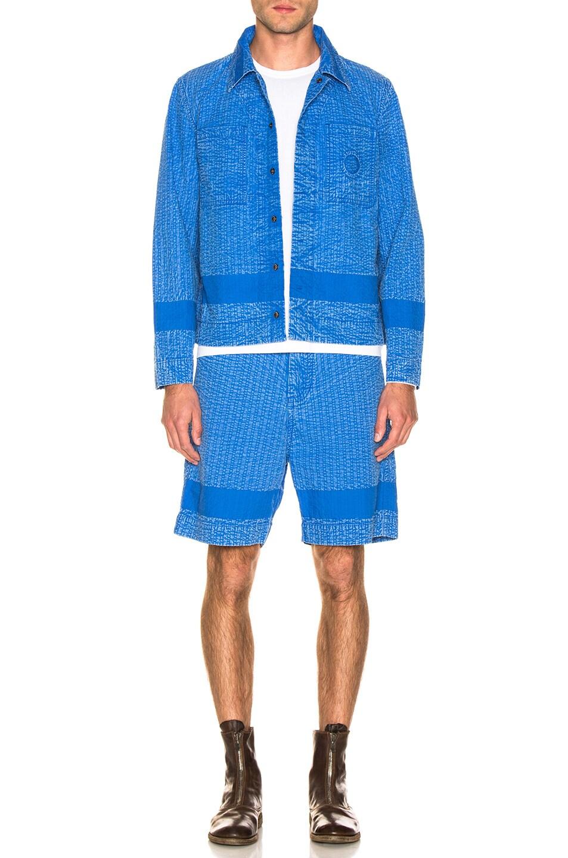 Image 5 of Craig Green Acid Wash Line Stitch Worker Jacket in Blue