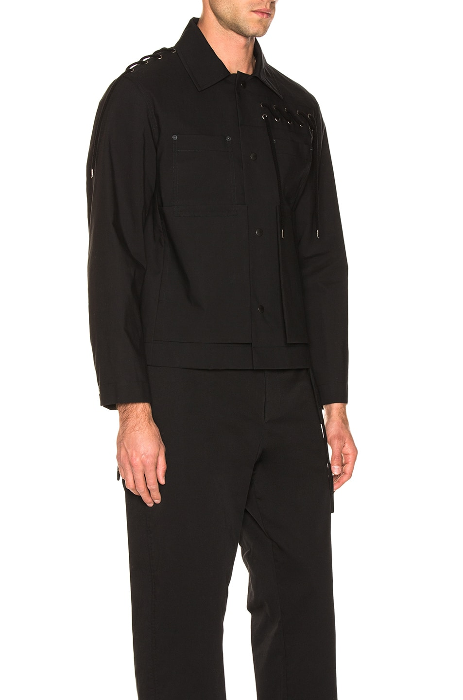 Image 3 of Craig Green Laced Bonded Worker Jacket in Black