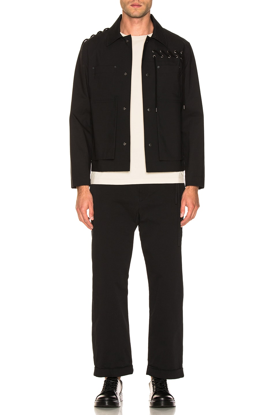 Image 5 of Craig Green Laced Bonded Worker Jacket in Black