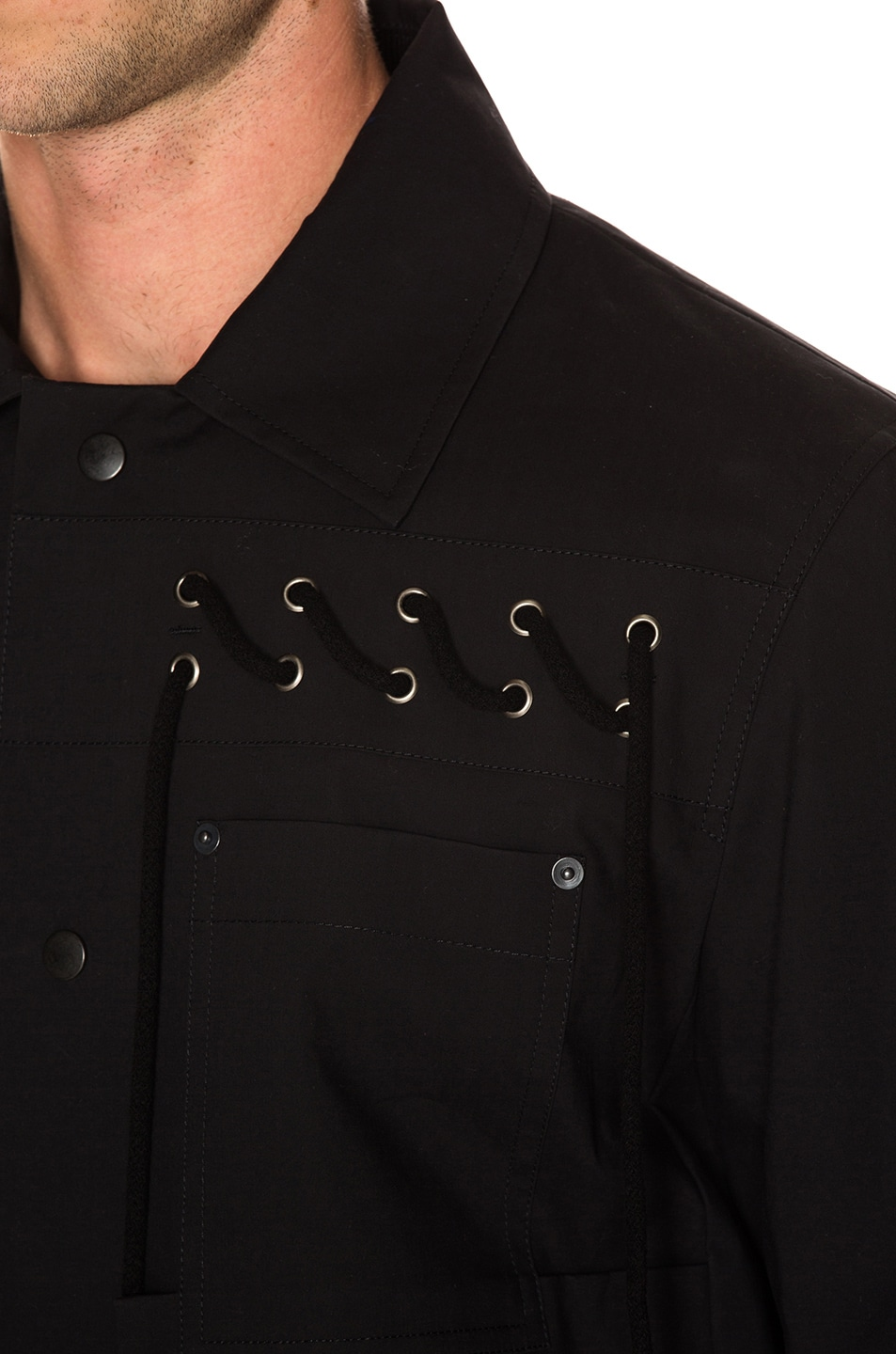 Image 6 of Craig Green Laced Bonded Worker Jacket in Black