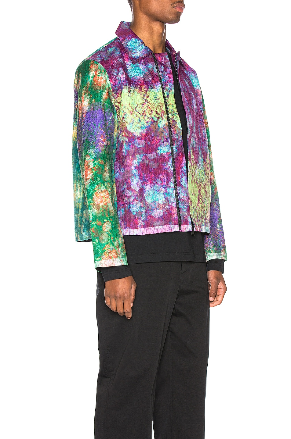 Image 3 of Craig Green Vibrating Floral Line Stitch Worker Jacket in Purple