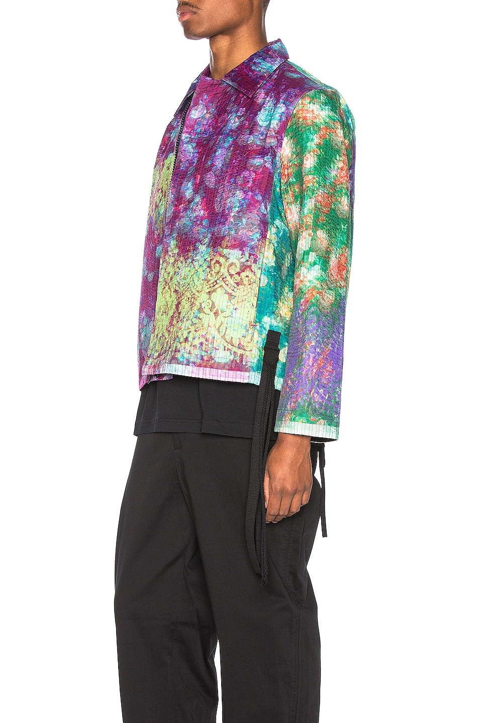 Image 4 of Craig Green Vibrating Floral Line Stitch Worker Jacket in Purple