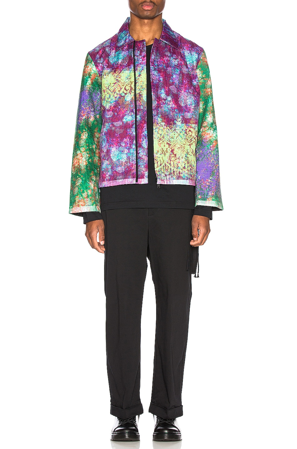 Image 6 of Craig Green Vibrating Floral Line Stitch Worker Jacket in Purple
