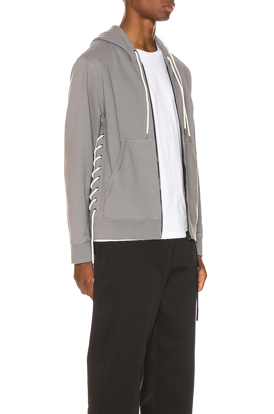 Image 3 of Craig Green Laced Zip Up Hoodie in Grey
