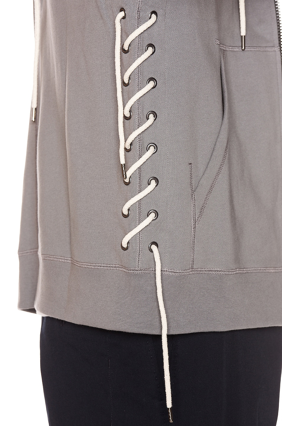 Image 7 of Craig Green Laced Zip Up Hoodie in Grey
