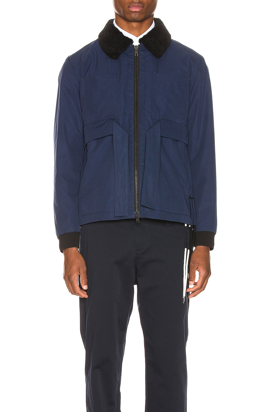 Image 2 of Craig Green Shearling Worker Jacket in Navy