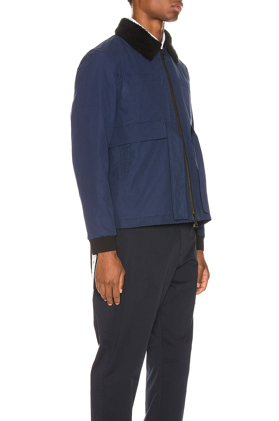 Image 3 of Craig Green Shearling Worker Jacket in Navy