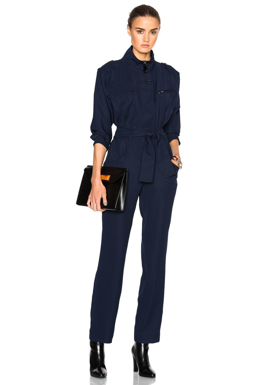 Image 1 of Carolina Ritzler Belted Jumpsuit in Navy Blue