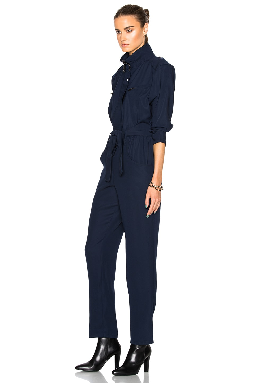 Image 2 of Carolina Ritzler Belted Jumpsuit in Navy Blue