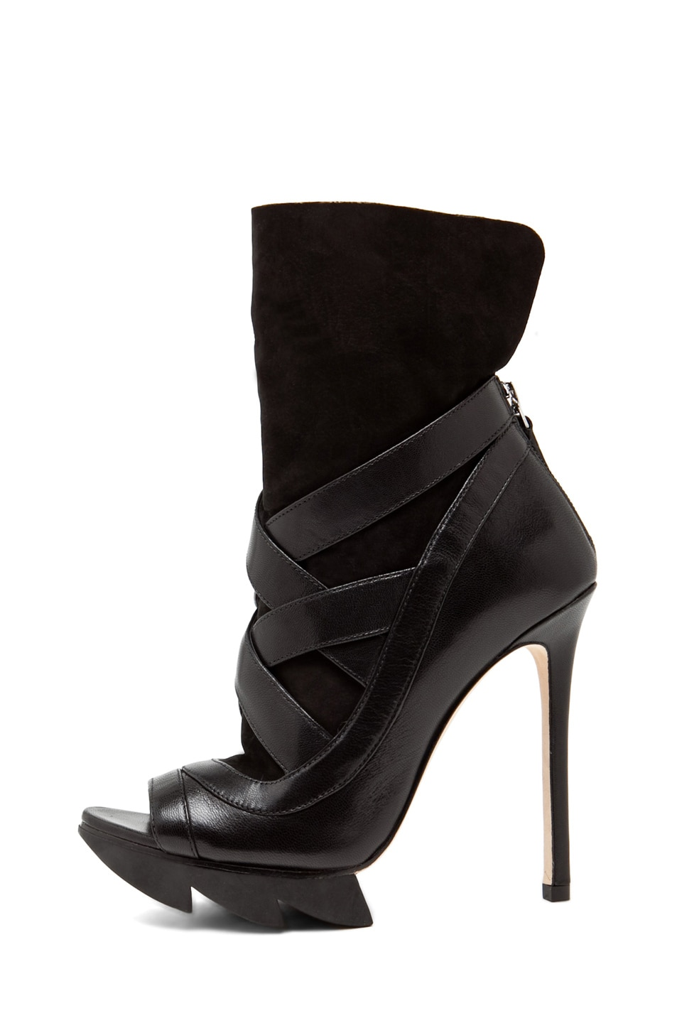 Image 1 of Camilla Skovgaard Cross Strap Sock Bootie with Saw Sole in Black