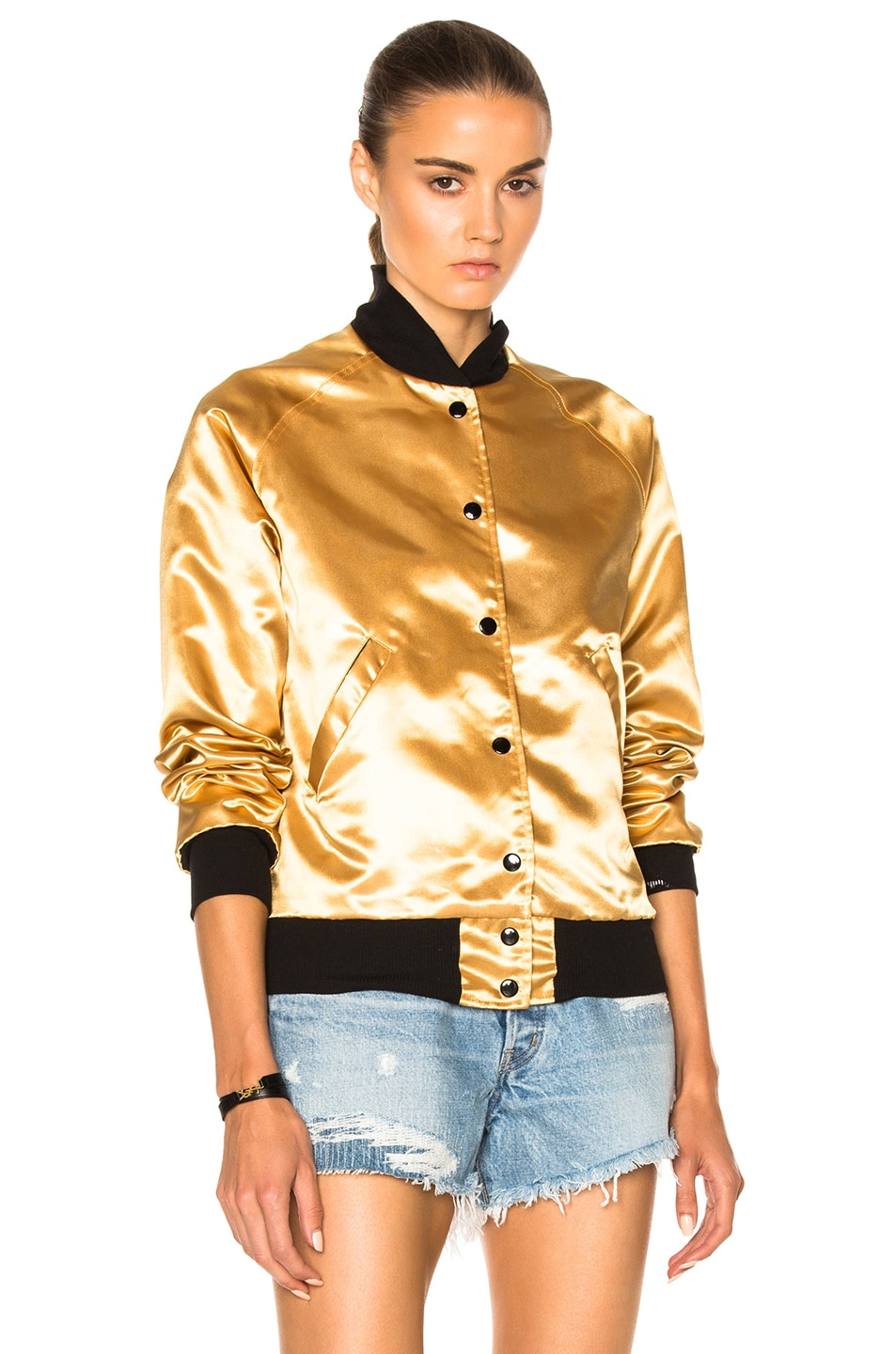 Image 3 of Catherine Fulmer Bowie Bomber Jacket in Gold