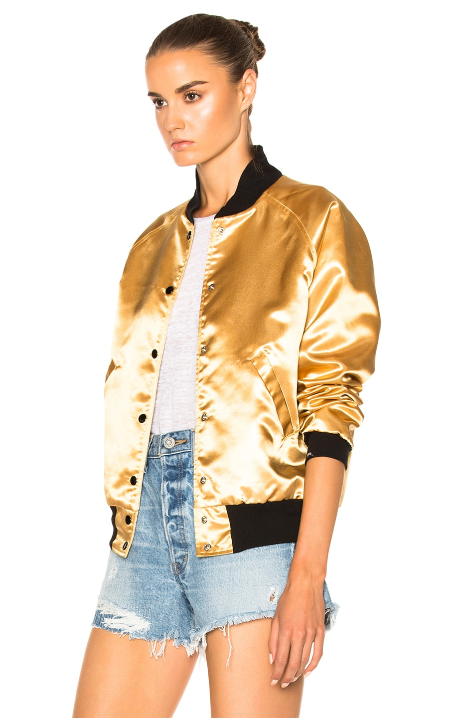 Image 4 of Catherine Fulmer Bowie Bomber Jacket in Gold
