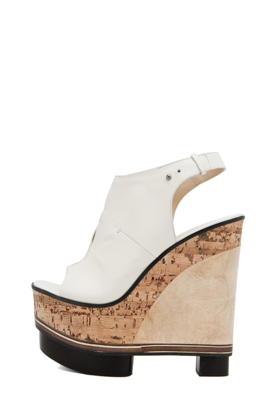 Image 1 of CoSTUME NATIONAL Lux Stacked Wedge in Blanco