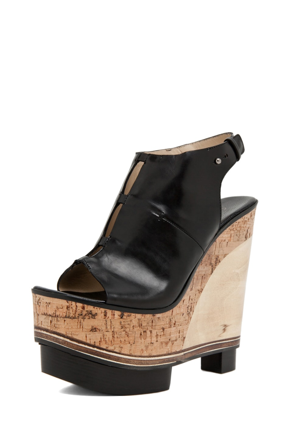Image 2 of CoSTUME NATIONAL Lux Stacked Wedge in Black