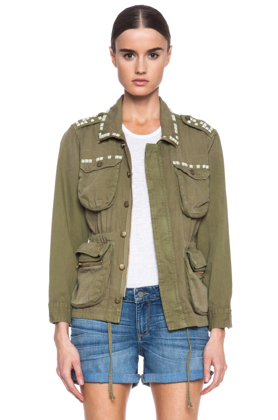 Image 1 of Current/Elliott Lone Soldier Cotton Jacket in Spring Army