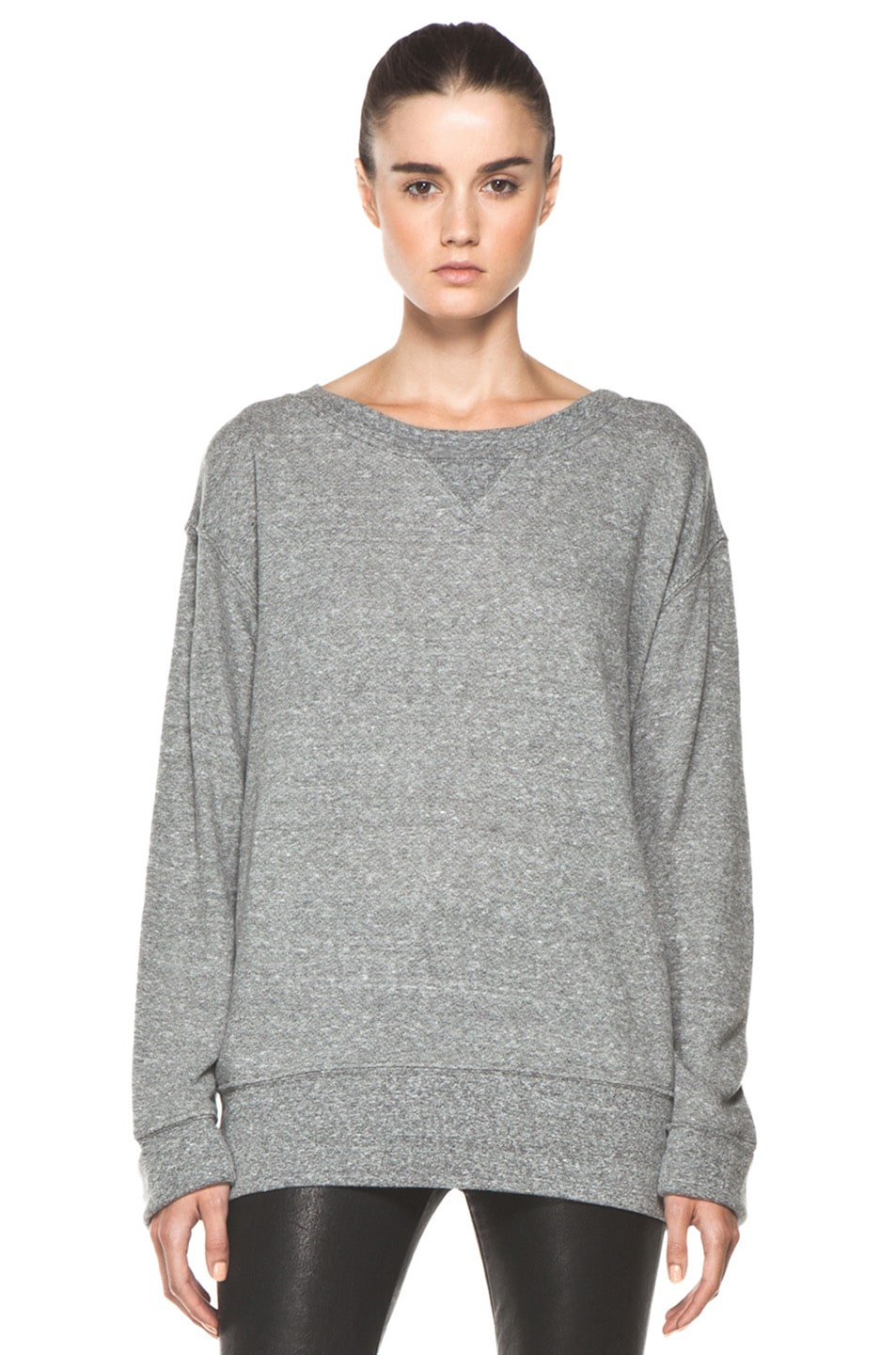 Image 1 of Current/Elliott The Stadium Sweatshirt in Heather Grey