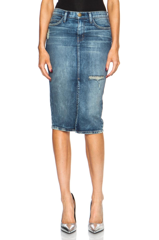 Image 1 of Current/Elliott High Waist Pencil Cotton-Blend Skirt in Heartbreak Destroy