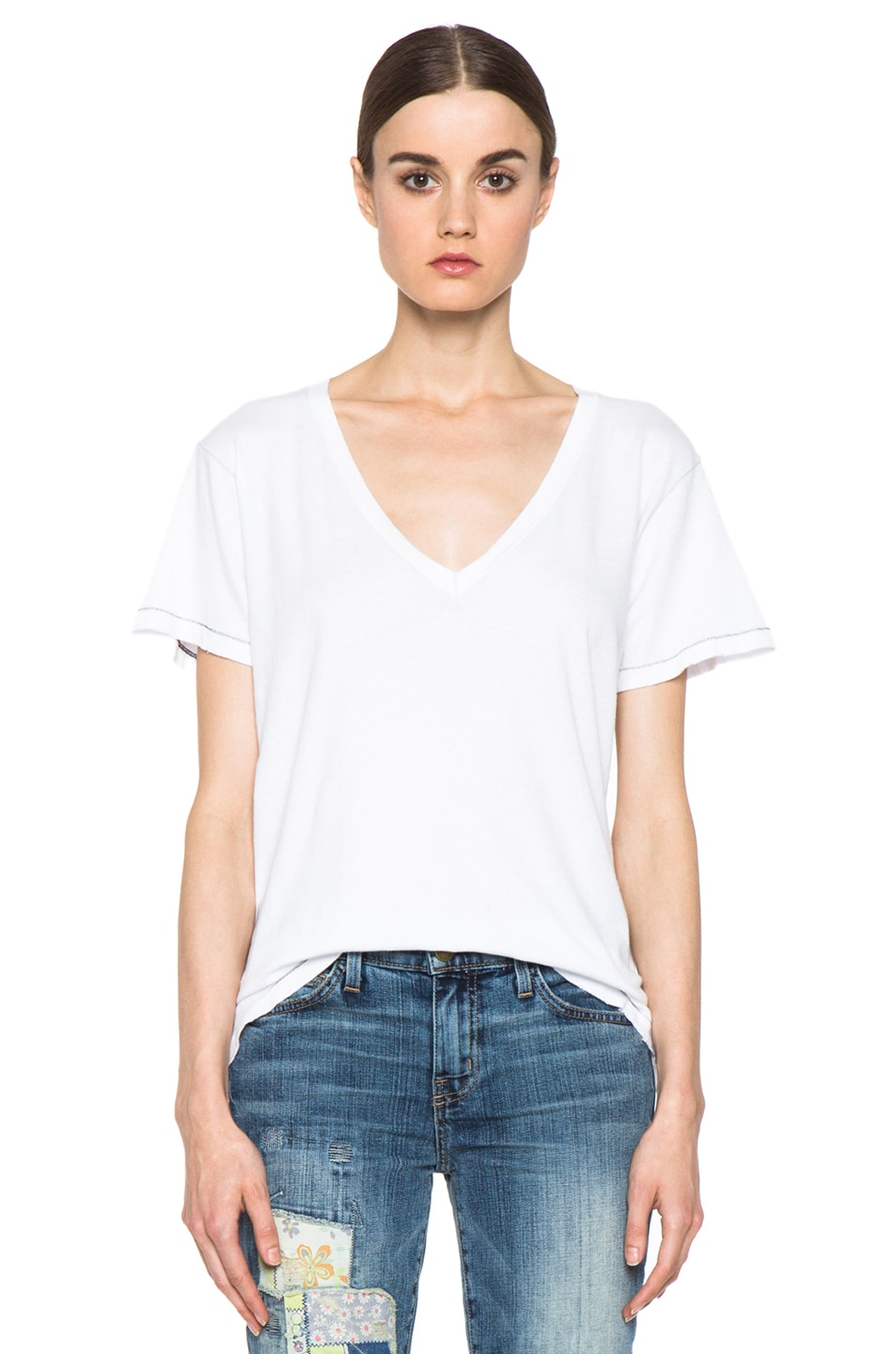 Image 1 of Current/Elliott The V Neck Cotton Tee in Sugar