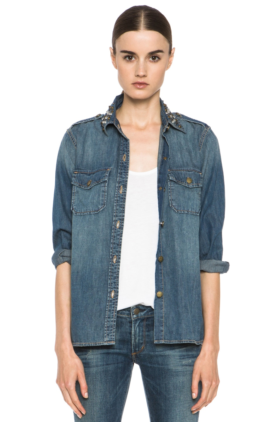 Image 1 of Current/Elliott Jean Perfect Shirt with Studs in Miner