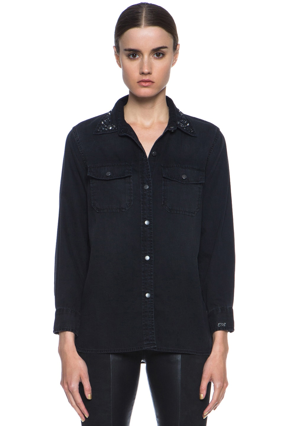 Image 1 of Current/Elliott Jean Perfect Shirt Without Epaulettes in Black & Jet
