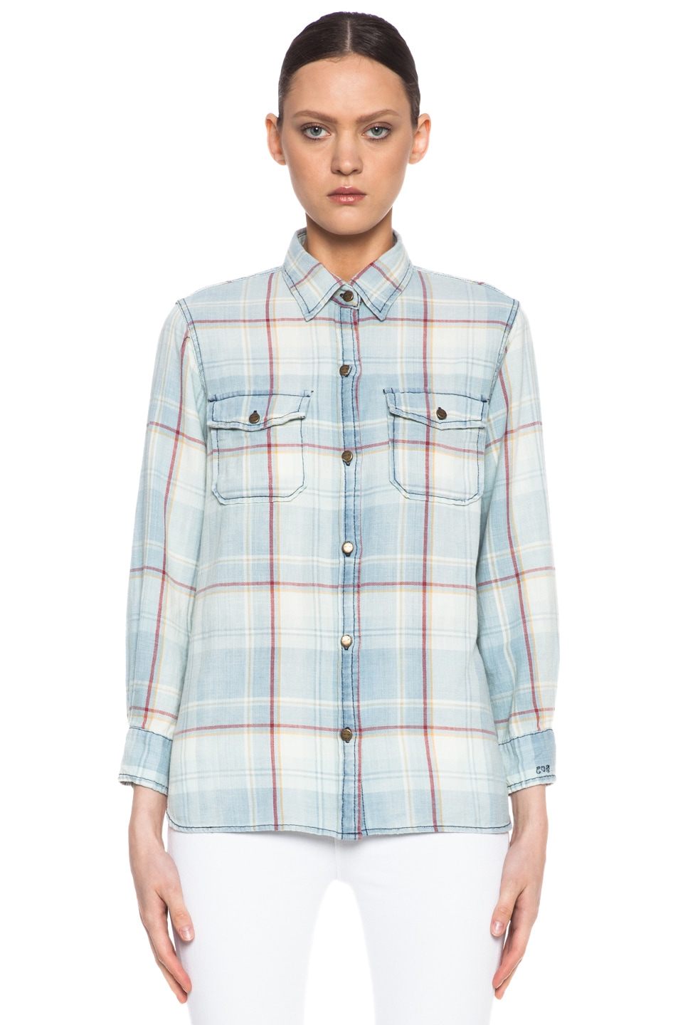 Image 1 of Current/Elliott Cotton Perfect Shirt in Vintage Trestles