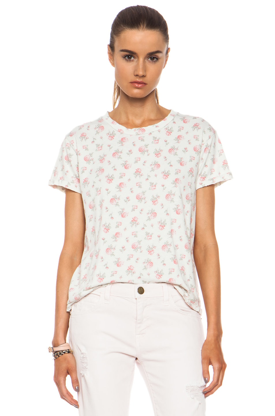 Image 1 of Current/Elliott Sophomore Cotton Tee in Falling Roses