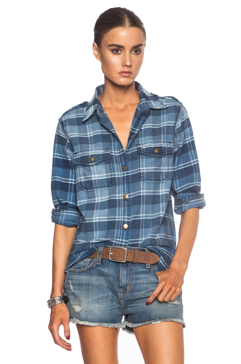 3e1fb4119d Image 1 of Current Elliott Perfect Button Down Cotton Top in Reflektor Plaid