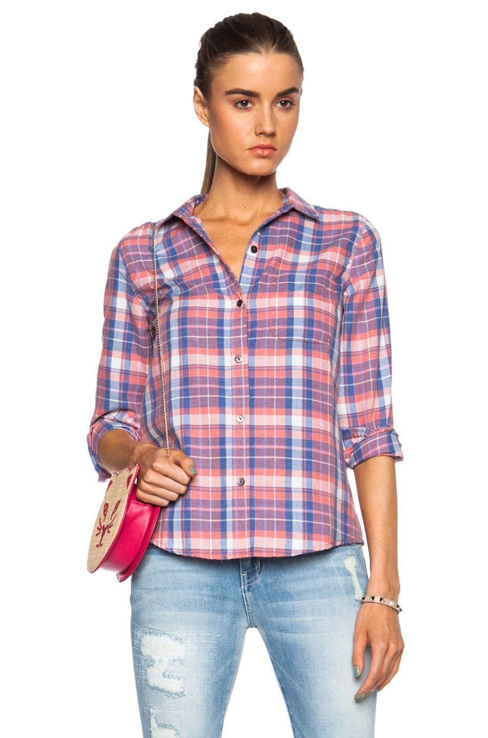 Image 1 of Current/Elliott Slim Boy Button Down Cotton Top in Stardust Plaid