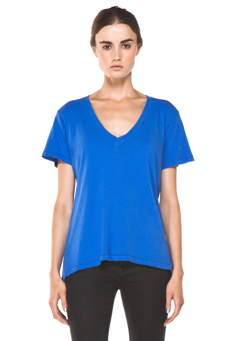 Image 1 of Current/Elliott The V Neck Tee in Cobalt