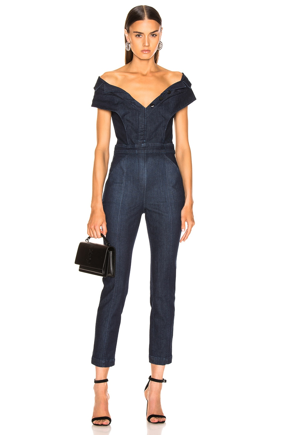 Image 1 of Cushnie x Lee Off the Shoulder Cropped Jumpsuit in Rinse Wash