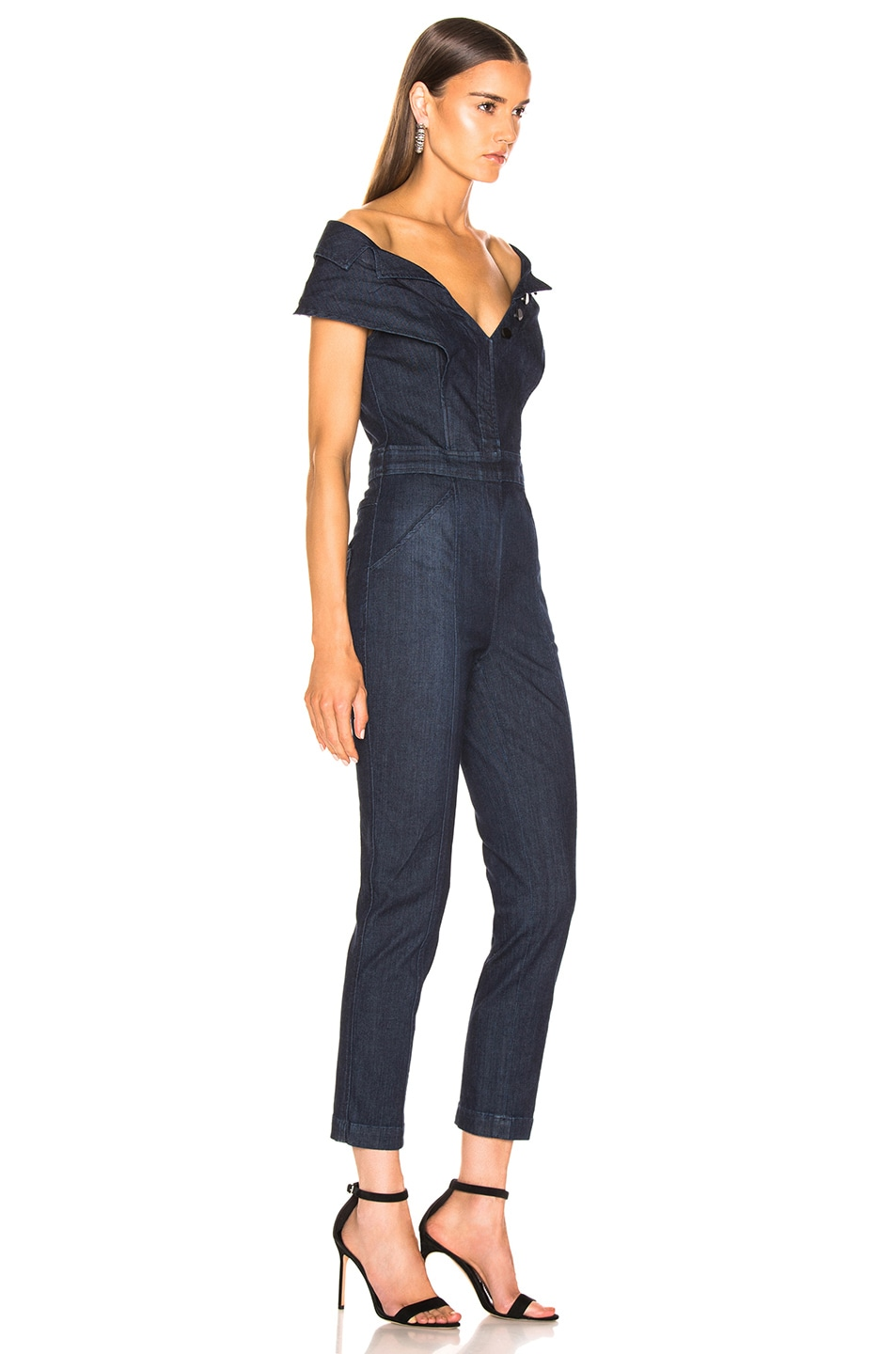 Image 2 of Cushnie x Lee Off the Shoulder Cropped Jumpsuit in Rinse Wash