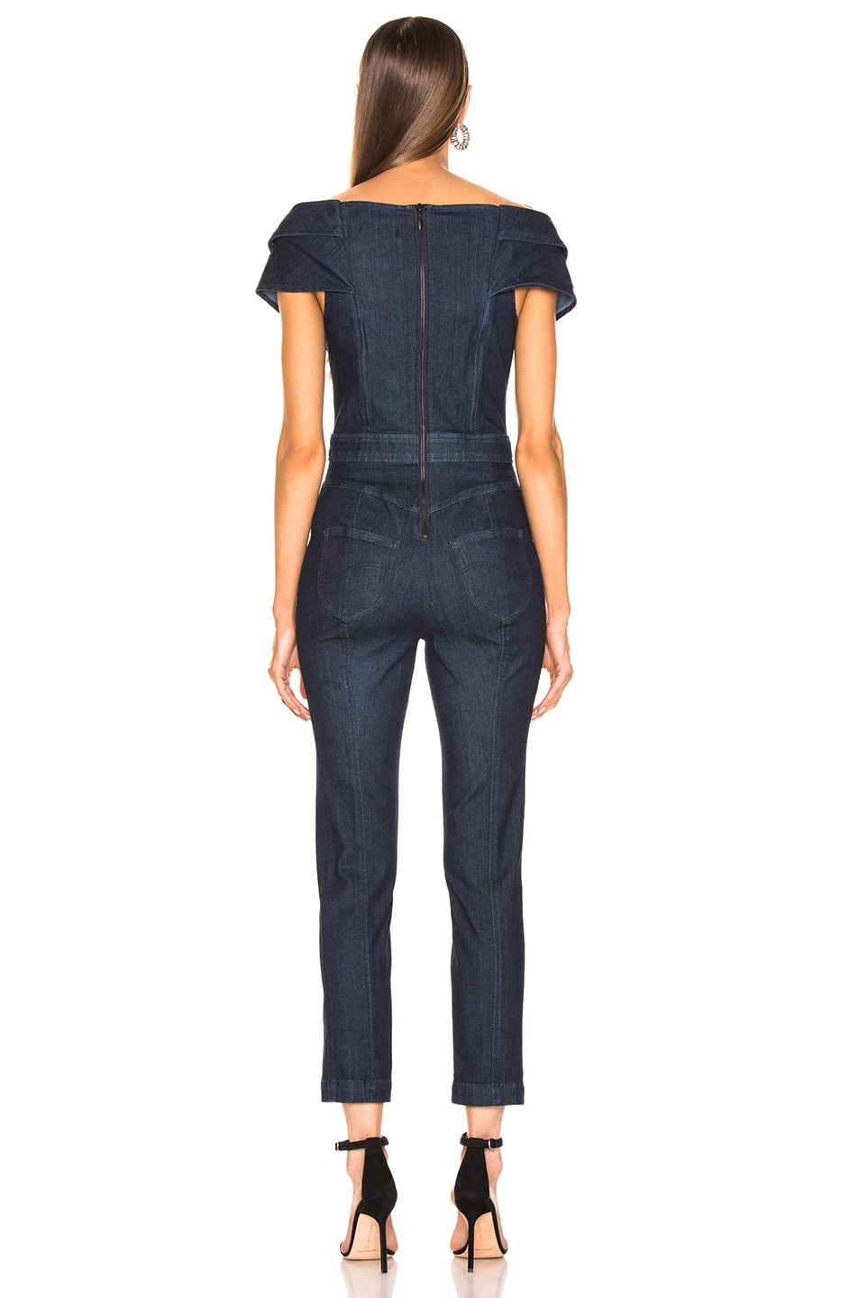 Image 3 of Cushnie x Lee Off the Shoulder Cropped Jumpsuit in Rinse Wash