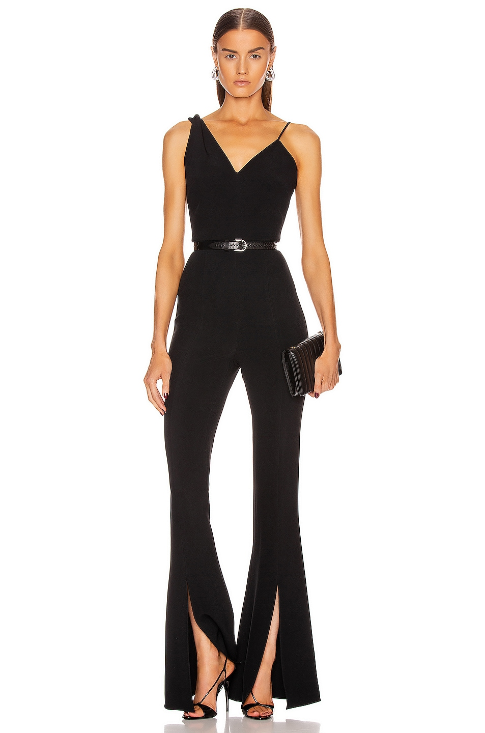 Image 1 of Cushnie Sleeveless Plunging Flare Jumpsuit in Black