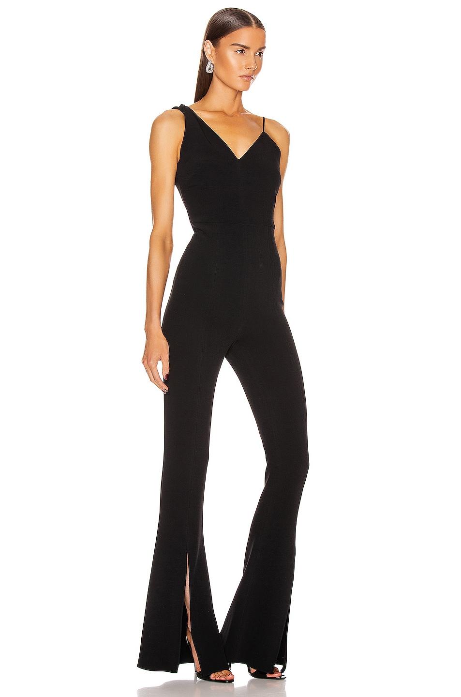 Image 2 of Cushnie Sleeveless Plunging Flare Jumpsuit in Black