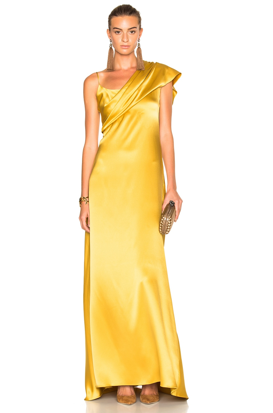 Image 1 of Cushnie Double Charmeuse Dress in Gold