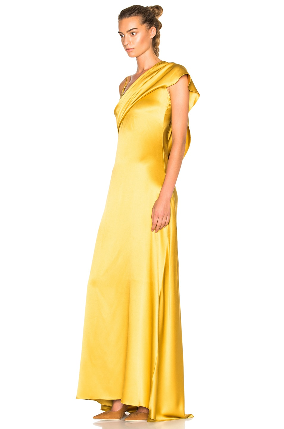 Image 2 of Cushnie Double Charmeuse Dress in Gold