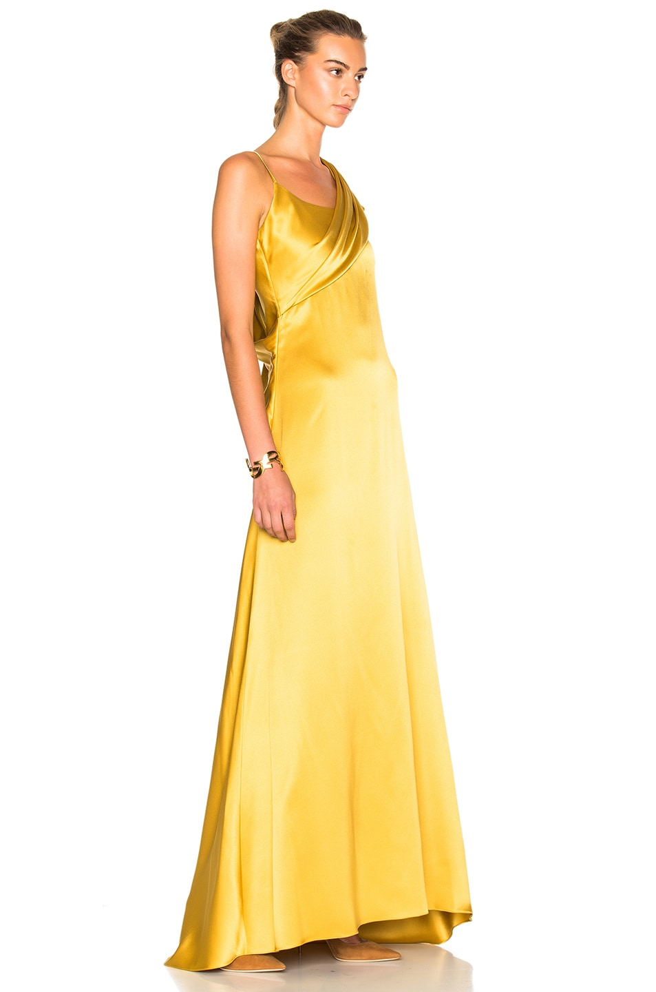 Image 3 of Cushnie Double Charmeuse Dress in Gold