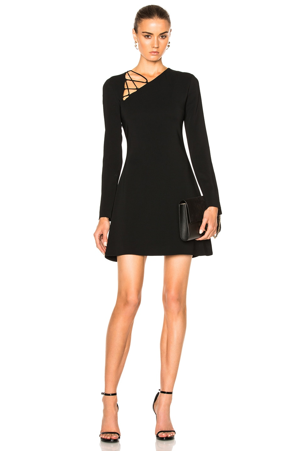 b8d7318c3f7 Image 1 of Cushnie Winona Long Sleeve Fit & Flare Dress in Black