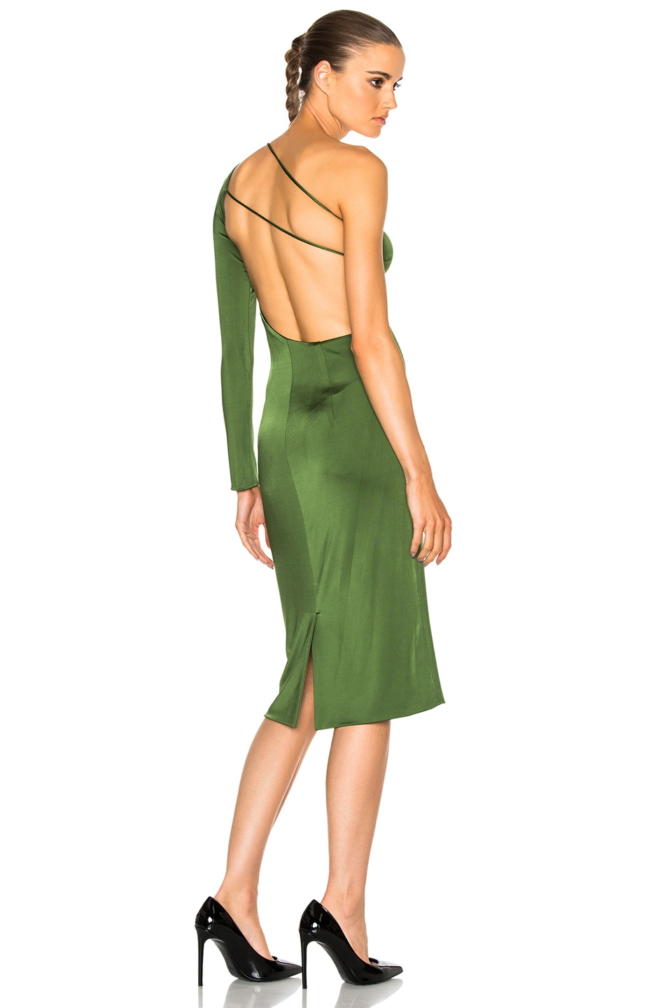 Image 1 of Cushnie Claudia Gloss Jersey One Sleeve Dress in Everglade