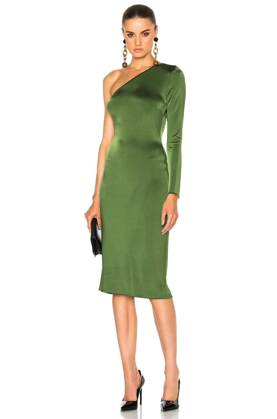 Image 2 of Cushnie Claudia Gloss Jersey One Sleeve Dress in Everglade