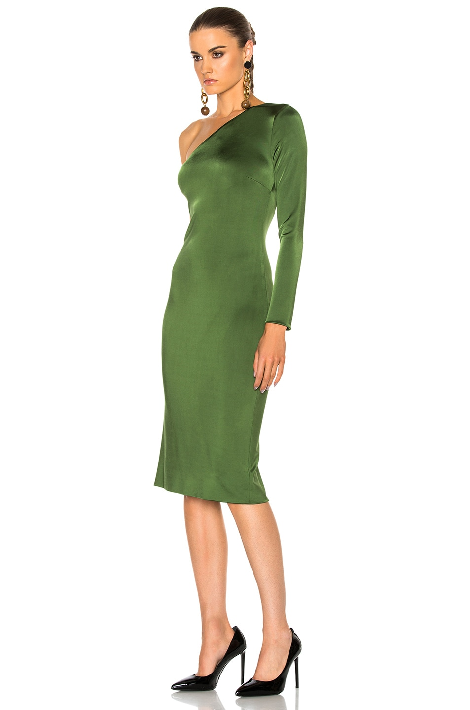 Image 3 of Cushnie Claudia Gloss Jersey One Sleeve Dress in Everglade