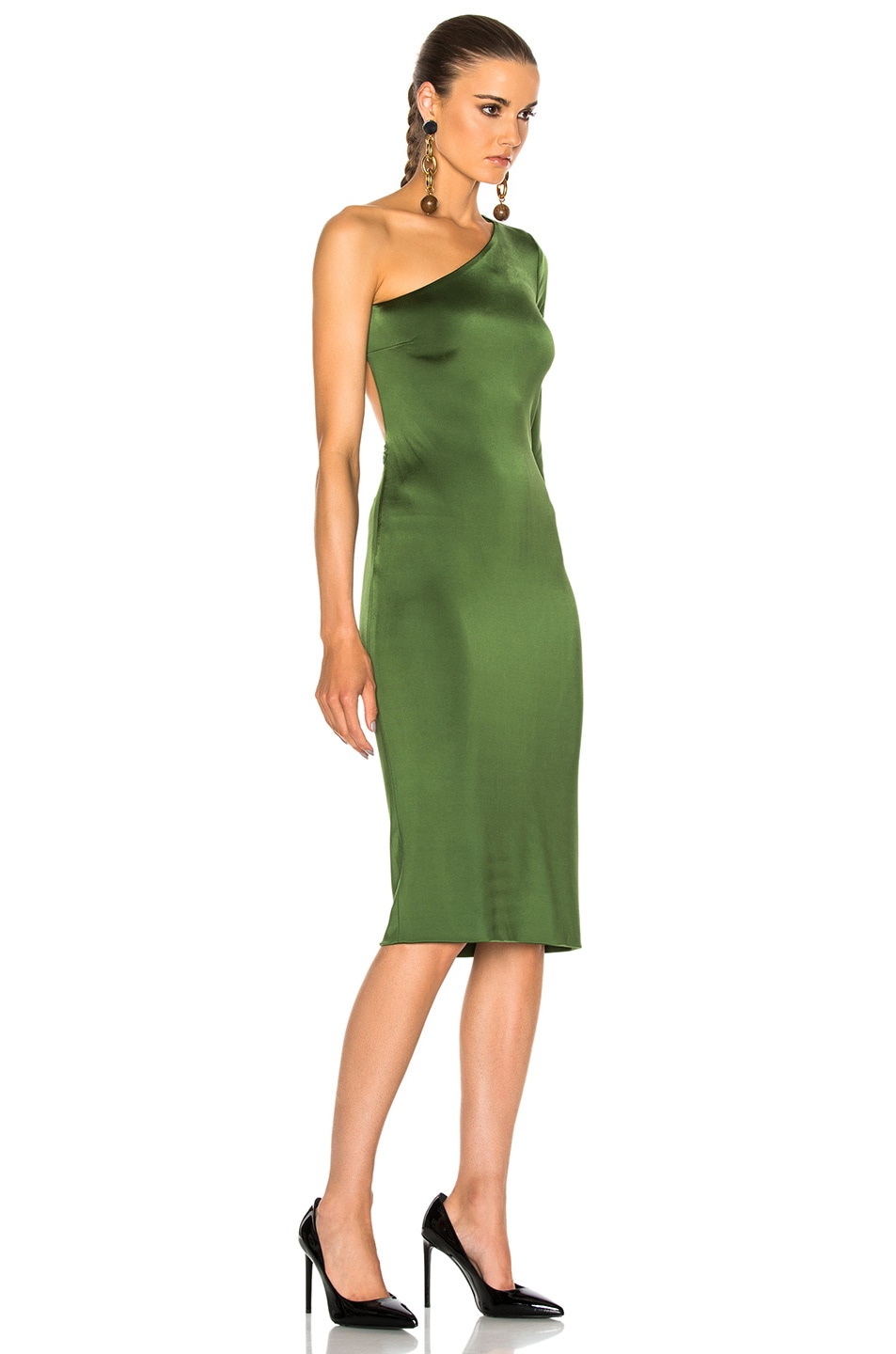 Image 4 of Cushnie Claudia Gloss Jersey One Sleeve Dress in Everglade