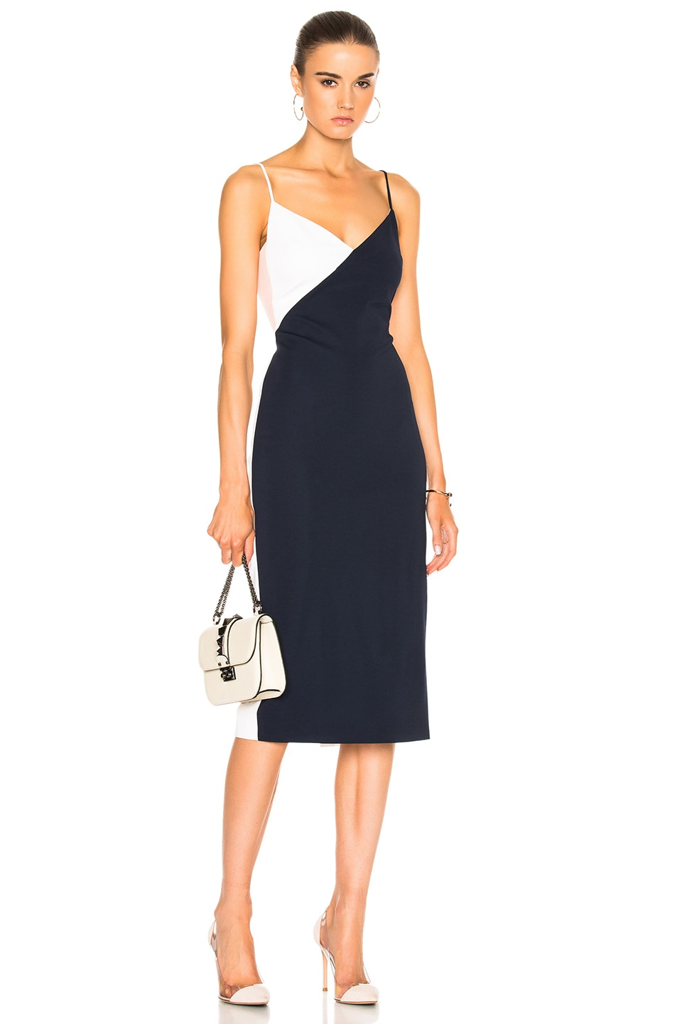 Image 1 of Cushnie Color Blocked Pencil Dress in Navy & Shell & White