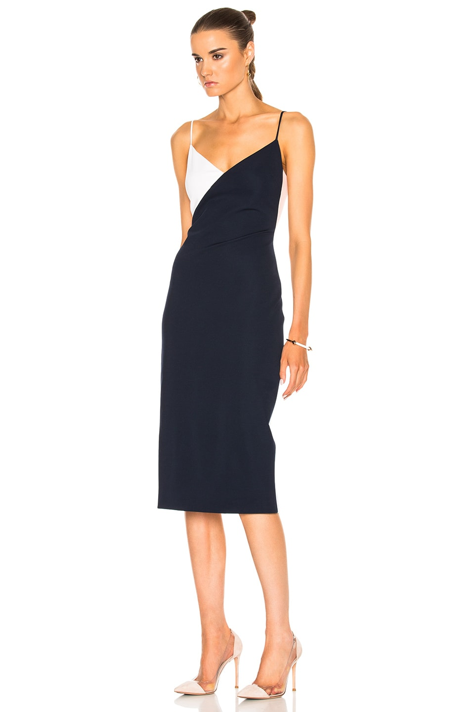 Image 2 of Cushnie Color Blocked Pencil Dress in Navy & Shell & White
