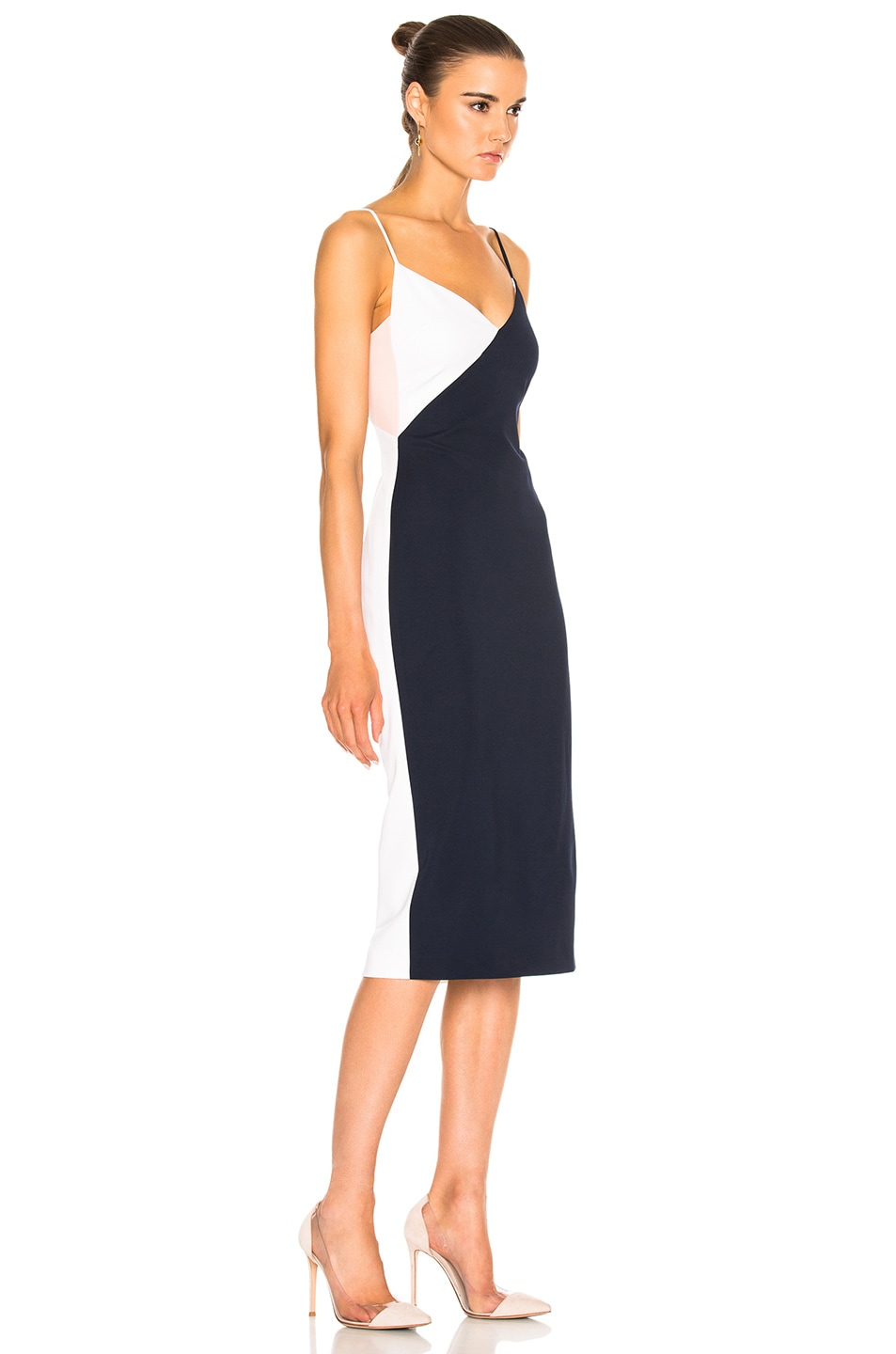 Image 3 of Cushnie Color Blocked Pencil Dress in Navy & Shell & White