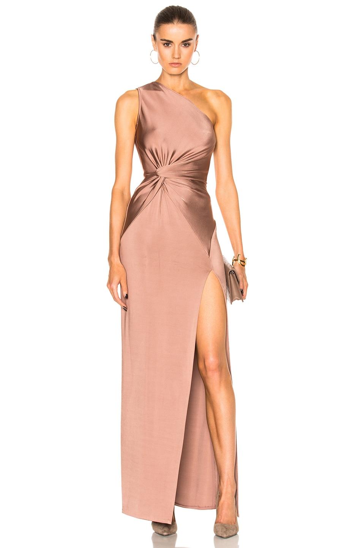 Cushnie Gloss Jersey Gown in Dune | FWRD