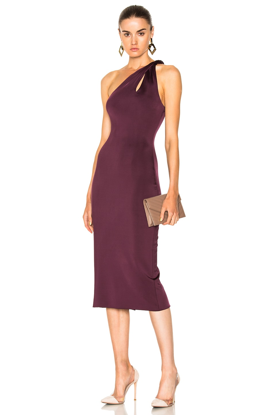 Cushnie et Ochs One Shoulder Dress with Twisted Strap in Purple